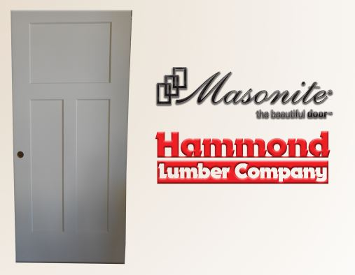 Masonite 3/0 x 6/8 Craftsman Winslow Style 3 Panel Interior Door